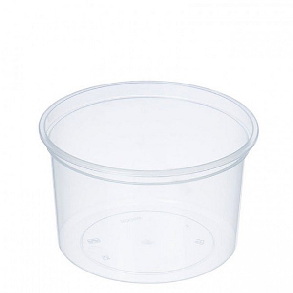 Ronde plastic voedsel containers, 500 cc - verpakking van 10 containers